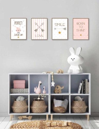 סט של 4 תמונות השראה לחדר תינוקת וילדה דגם 02