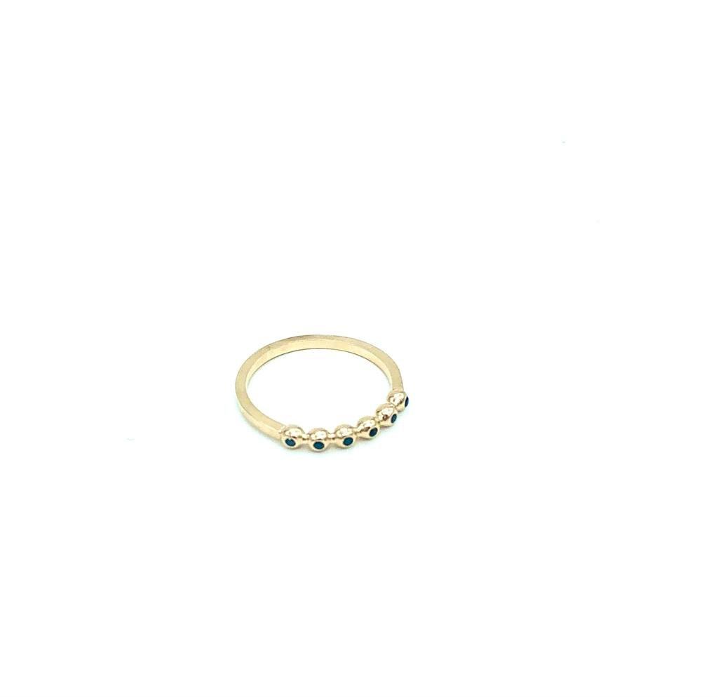 טבעת סלין זהב 14K יהלומים שחורים