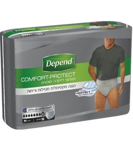 תחתונים סופגים לגבר Depend -  אפור