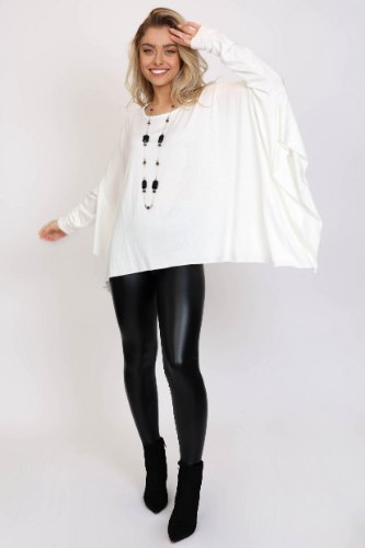חולצת סריג אוברסייז נטלי כאמל/לבן/שחור