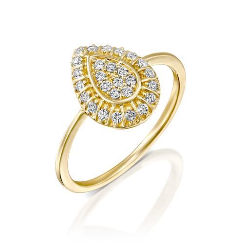 טבעת טיפת הנצח משובצת יהלומים בזהב צהוב או לבן 14 קראט