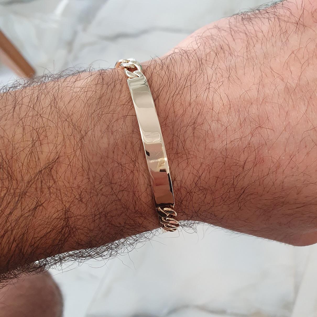 צמיד זהב איטלקי לגבר חוליות פיגרו וחריטה