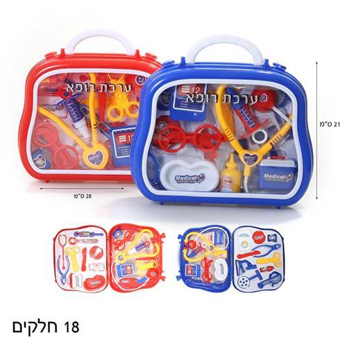 כלי רופא במזוודה אדום/כחול