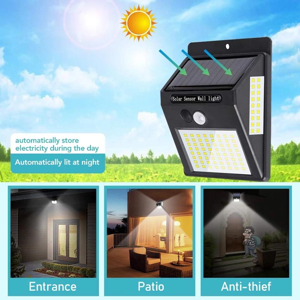 תאורת לד סולרית רב כיוונית מוגנת מים 100 נורות לד עוצמתי + חיישן תנועה