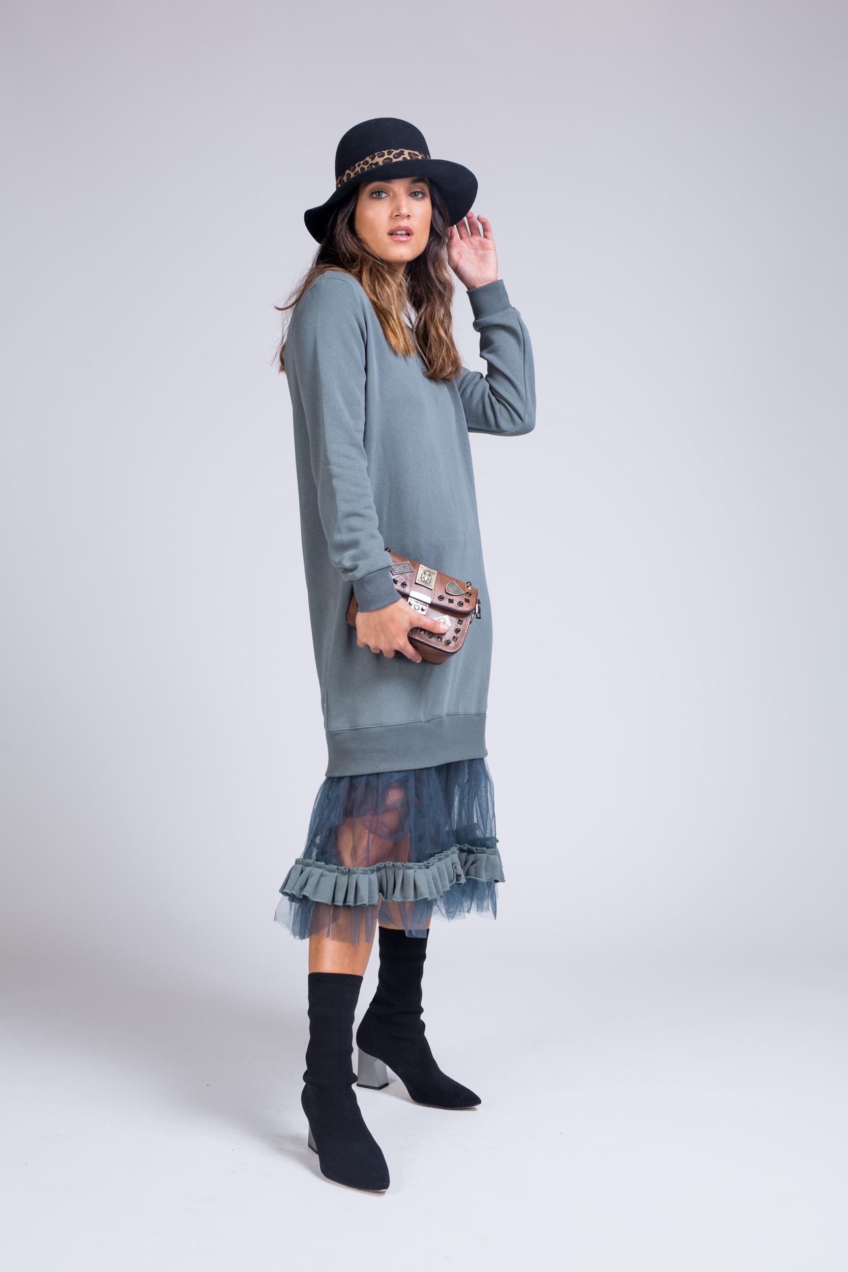 שמלה מקסי שילוב טול