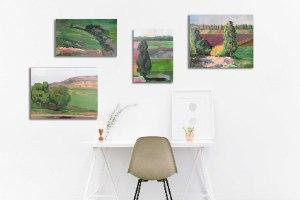 ציור ממוסגר - סדרת ציורי נוף