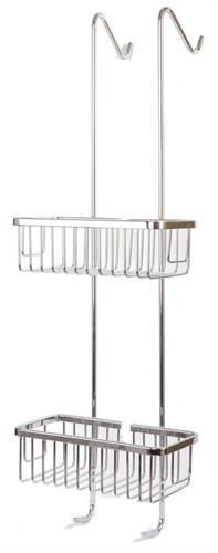 מדף כפול רשתמרובע לתליה על מקלחון- ניקל