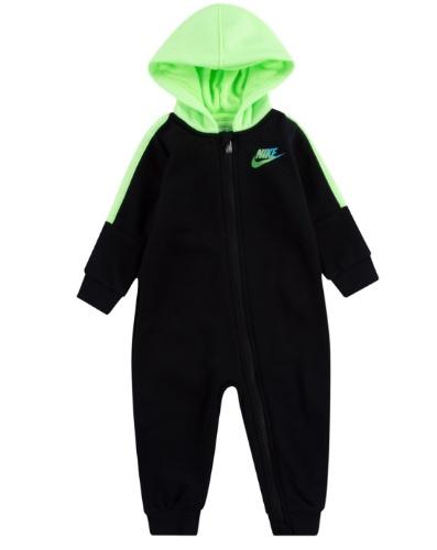 NIKE אוברול תינוקות שחור ירוק ניאון מידות NB-9 חודשים