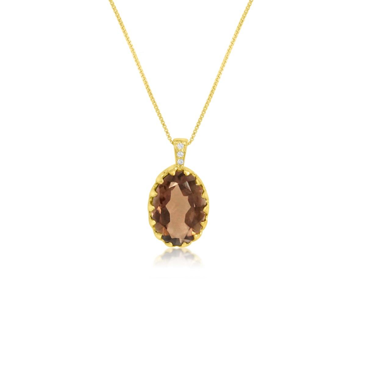 שרשרת זהב לאישה עם תליון אבן חן ויהלומים