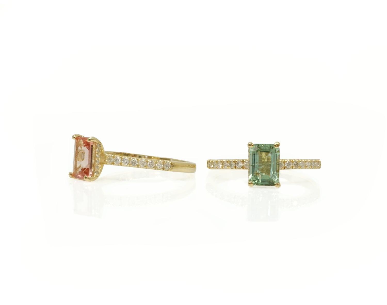 טבעת זהב עם טורמלין ויהלומים