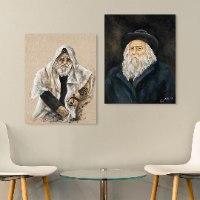 ציורים על קנבס של רבנים בזוגות