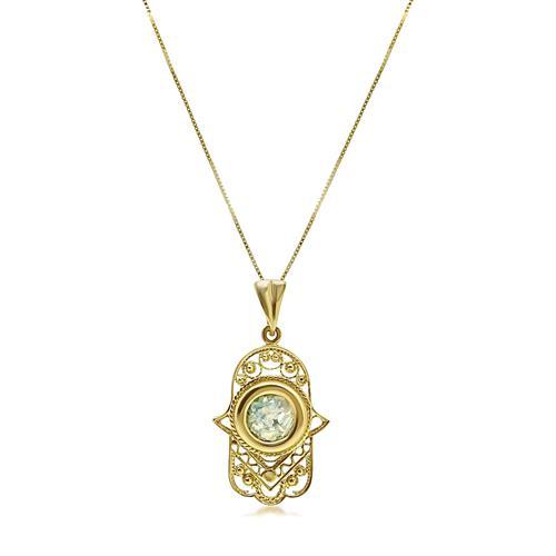 שרשרת זהב תליון חמסה זכוכית רומית