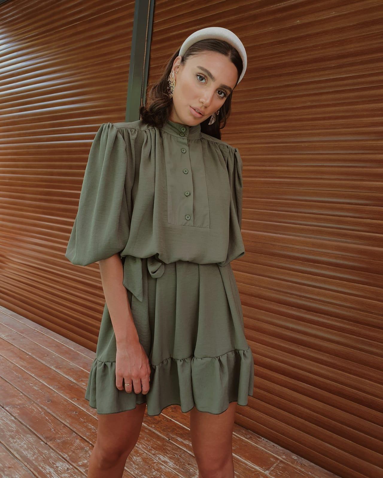 שמלת ג׳ודית - ירוק זית