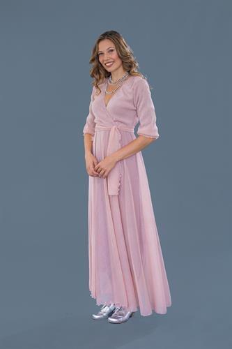 שמלת ערב מקסי ורודה
