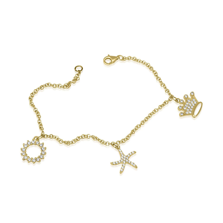 צמיד זהב עם צ'ארמס נופלים