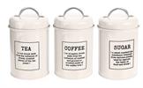 לבן - סט אחסון קפה, תה וסוכר
