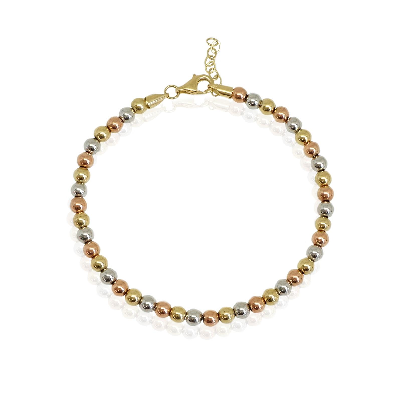 צמיד כדורים מזהב 14 קראט   צמיד זהב בשלושה צבעים