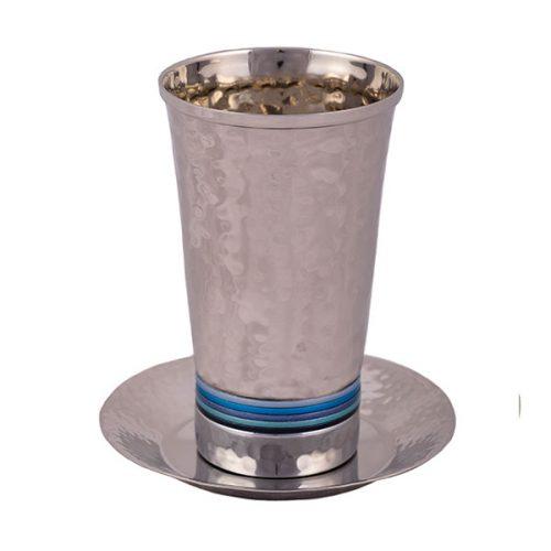 כוס קידוש - עבודת פטיש + טבעות - כחול