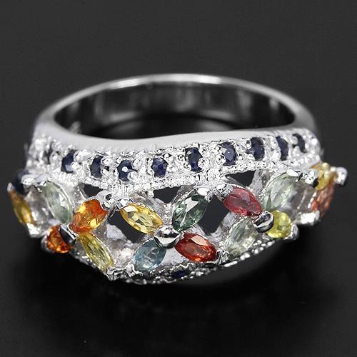 טבעת כסף משובצת אבני ספיר צבעוניות ואבני זרקון לבנות RG1252 | תכשיטי כסף 925