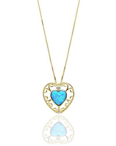 שרשרת ותליון זהב עם אופל לב ויהלומים עם פיתוחי זהב עדינים