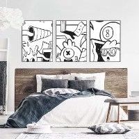 סט שלוש ציורים לעיצוב חדר שינה של האמן כפיר תג'ר
