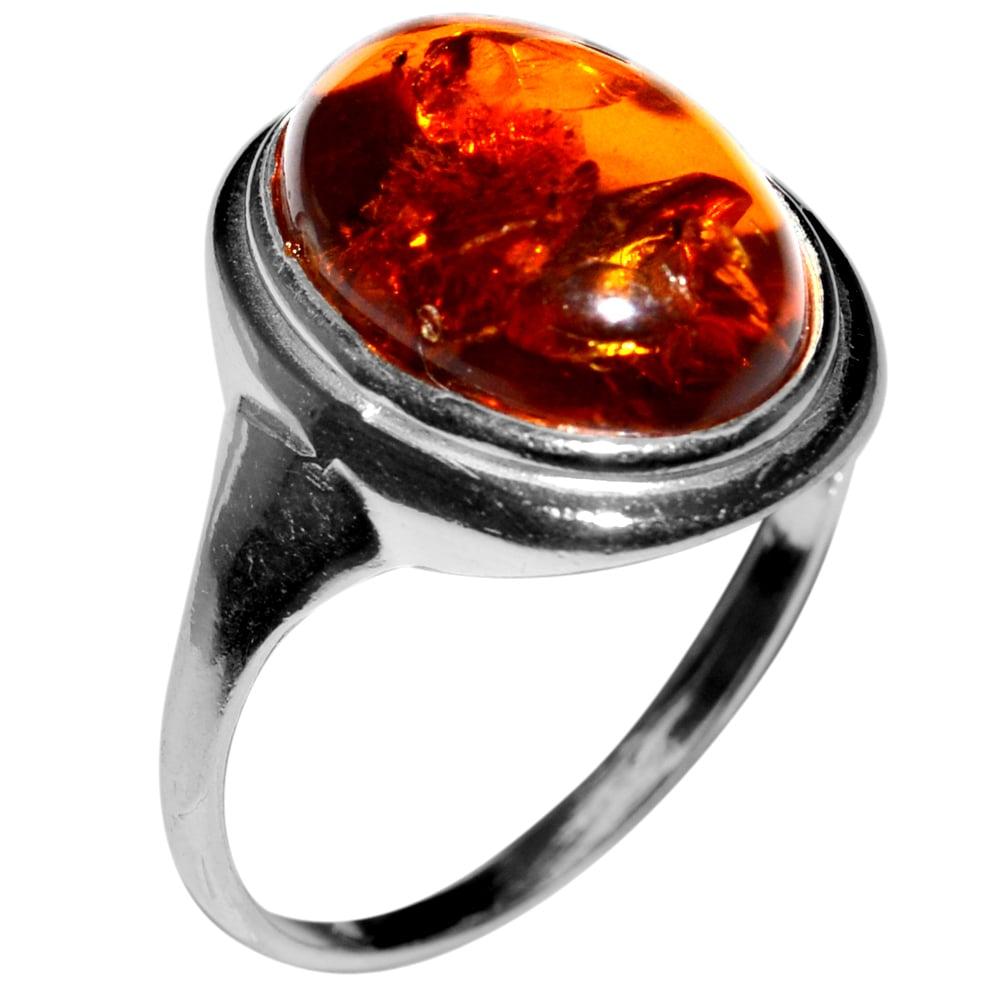 טבעת כסף משובצת ענבר RG7035 | תכשיטי כסף