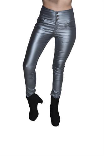 מכנס דמוי עור גבוה עם 3 כפתורים בצבע כסף