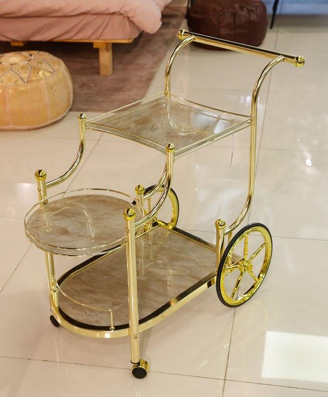 עגלת תה נירוסטה בצבע זהב מדפי זכוכית שיש שמנת מידות: 89X48X79
