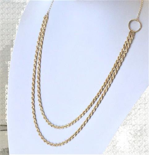 שרשראות זהב חבל|שרשרת חבל כפולה לאישה| 14 קראט