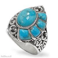 טבעת מכסף משובצת אבני טורקיז  RG6094 | תכשיטי כסף 925 | טבעות כסף