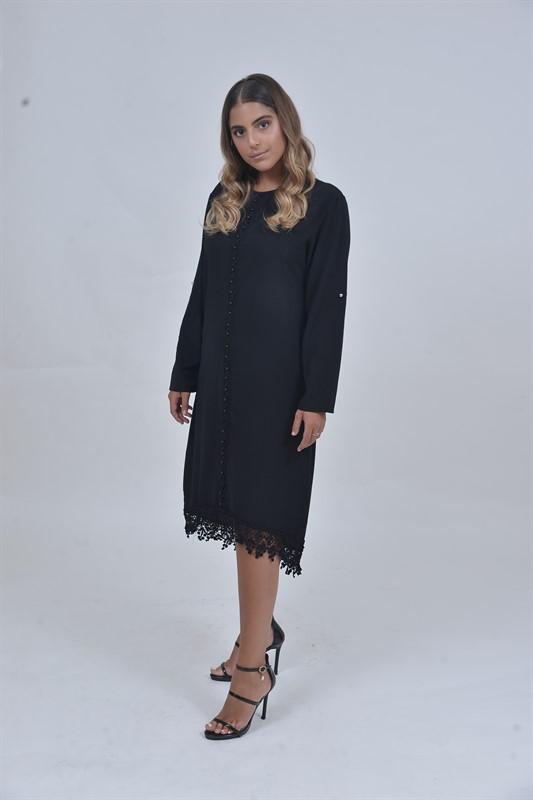 שמלת שיק פנינים שחורה