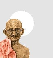 גנדי - הדפס ציור על קנבס ריבועי