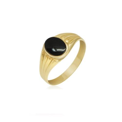 טבעת זהב עם אבן אוניקס