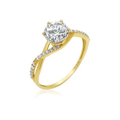 טבעת זהב לאישה משובצים עם זרקונים