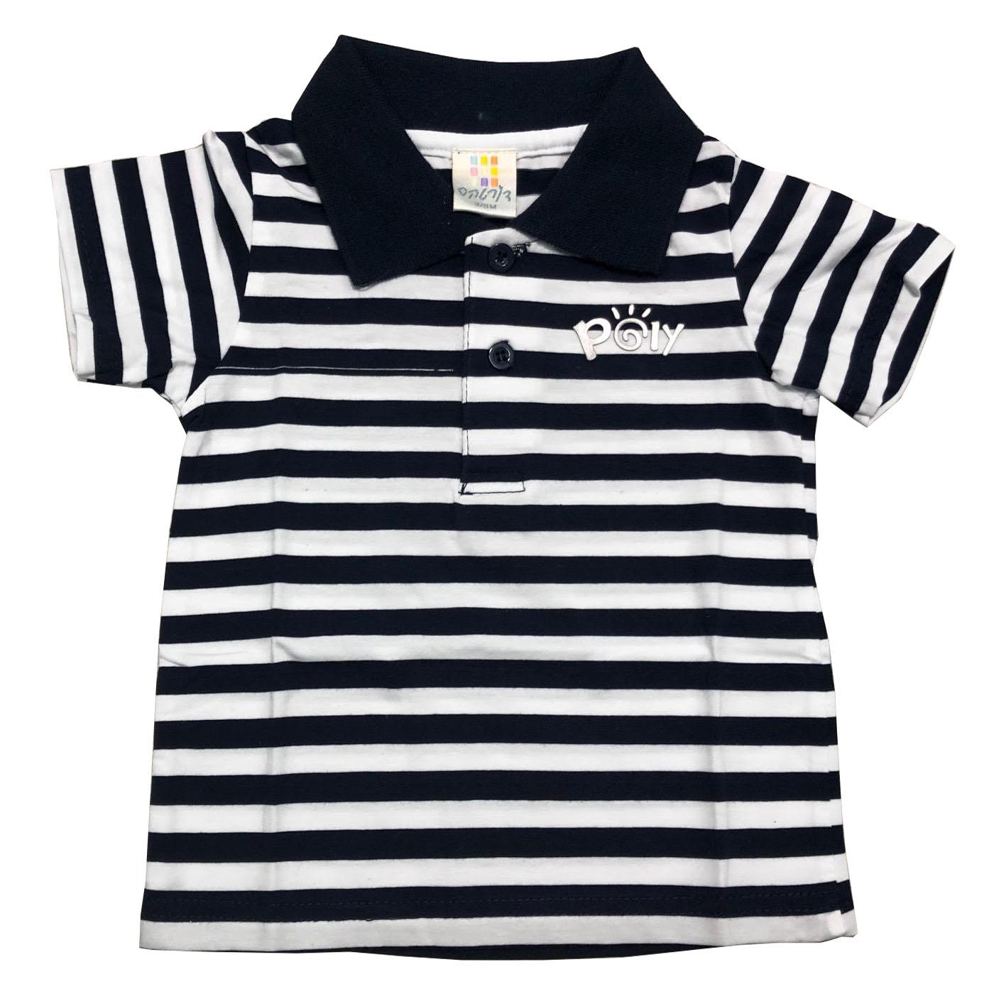 חולצת פולו פסים דקים שחור-לבן
