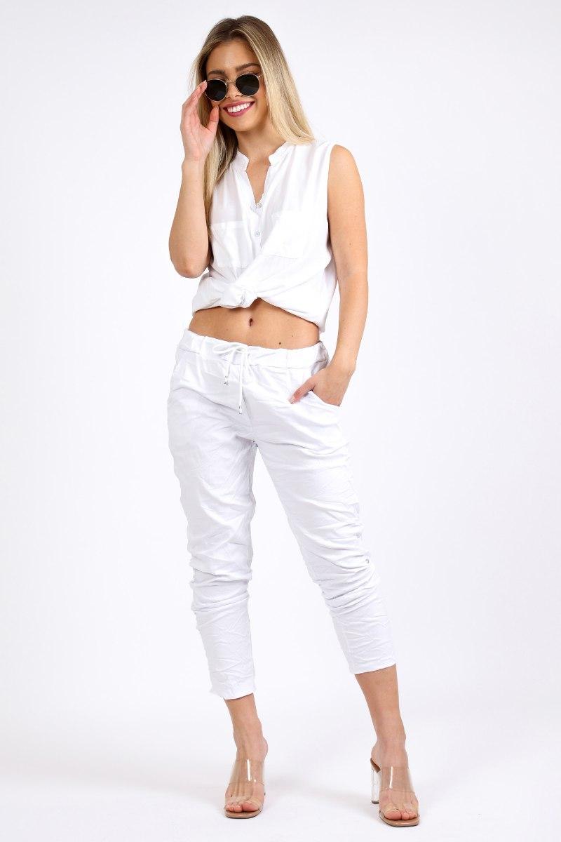 מכנס קפרי כותנה לבן/שחור/אפור