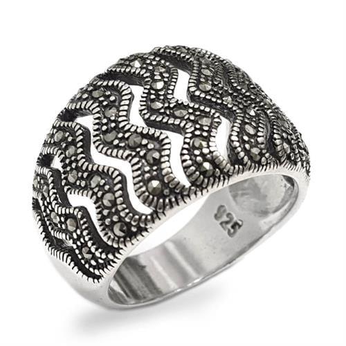 טבעת כסף משובצת מרקזטים RG5903 | תכשיטי כסף 925 | טבעות כסף