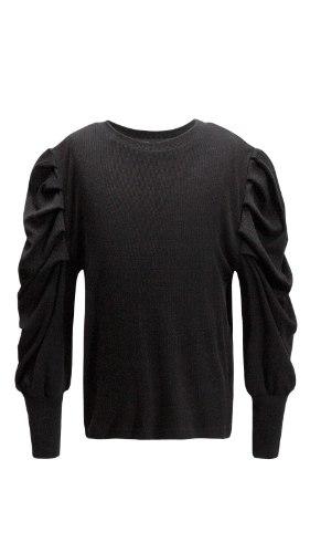 חולצת שרוולים נפוחים שחורה VIEW - בנות 2-14