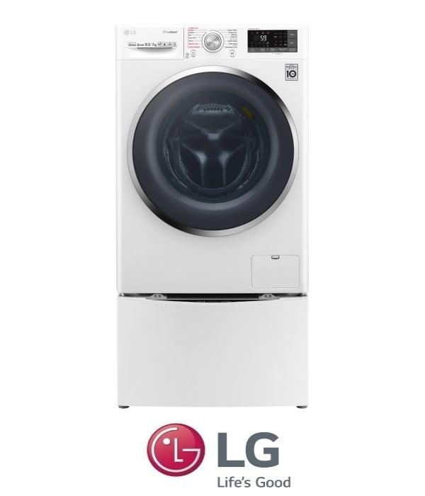 "LG מכונת כביסה 10.5 ק""ג + 2 ק""ג TWINWASH + מייבש דגם F1007CWT"