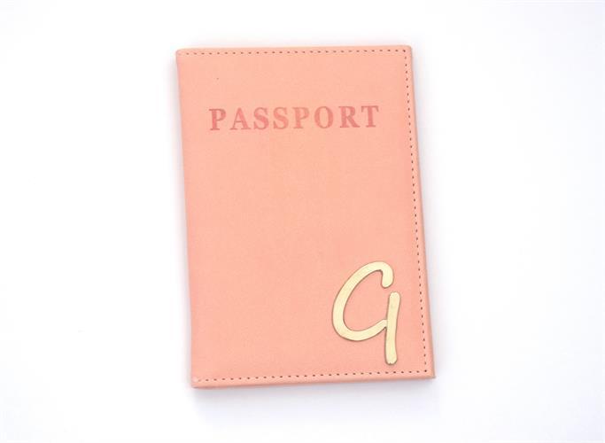 כיסוי לדרכון דמוי עור ורוד אפרסק