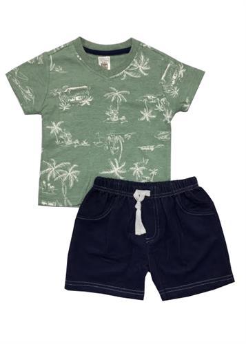 חליפה קצרה הדפס טרופי ירוק