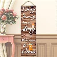 """שלט עץ """"סיפור המשפחה"""""""