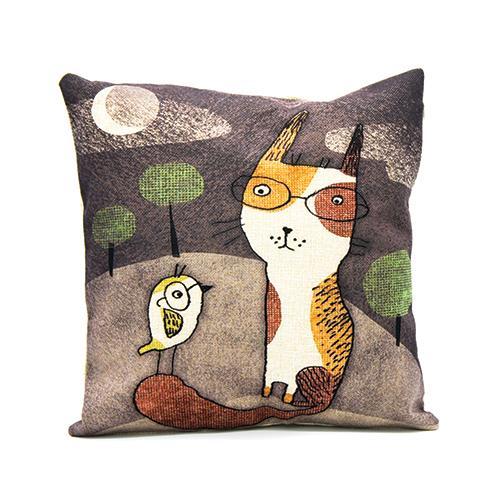 כרית נוי cat & bird 2