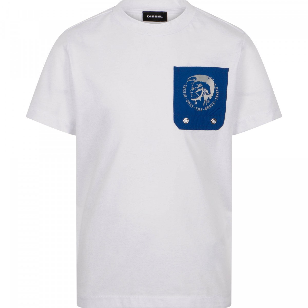 טישירט - DIESEL לבנה עם כיס כחול - 8-16 שנים