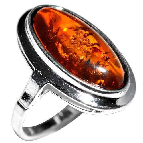 טבעת כסף משובצת ענבר RG7456