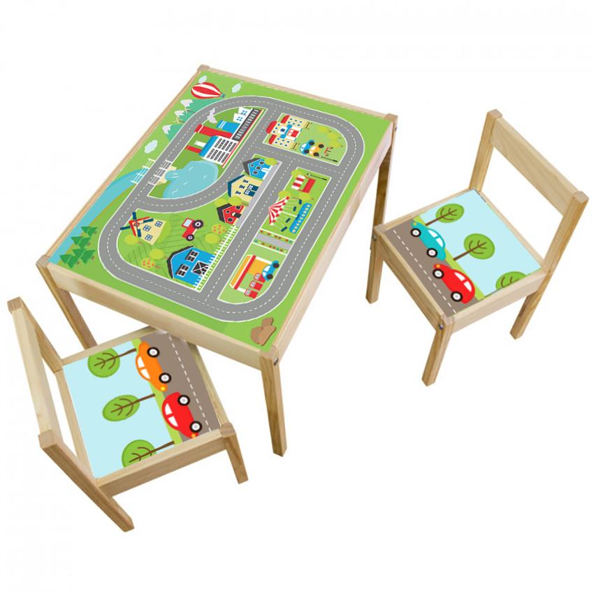 3 יח' טפט דביק מותאם לשולחן וכסאות (LATT)-מסלול מכוניות