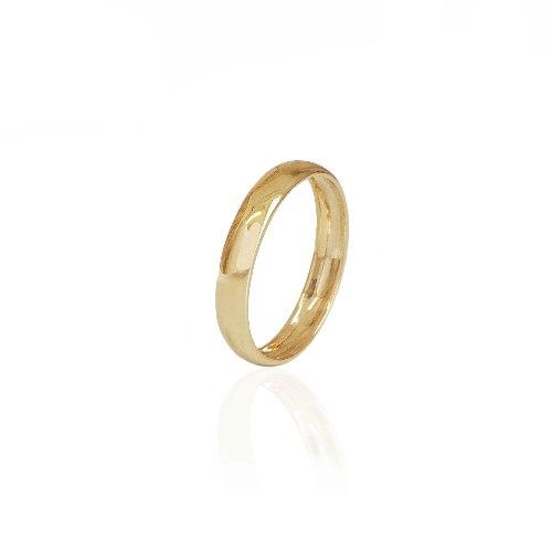 """טבעת נישואין חלקה רחבה 4 מ""""מ מידות 8-17"""