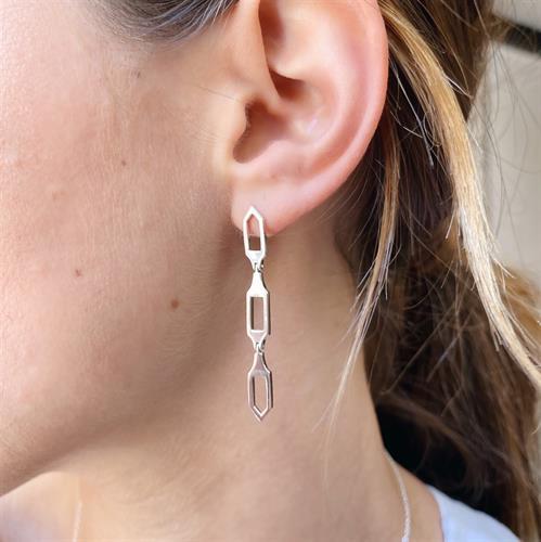 Long Pentagon Earrings Sterling Silver