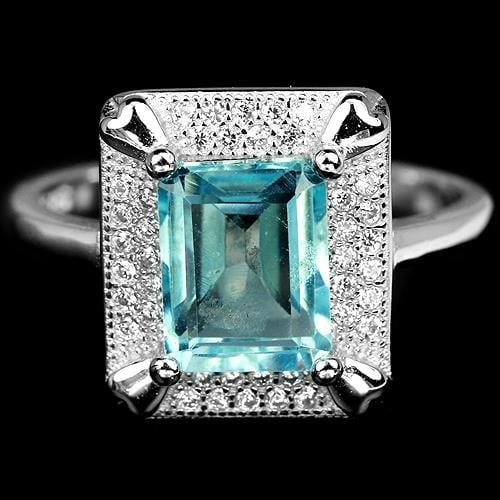 טבעת מכסף משובצת אבן טופז כחולה וזרקונים RG5760 | תכשיטי כסף 925 | טבעות כסף