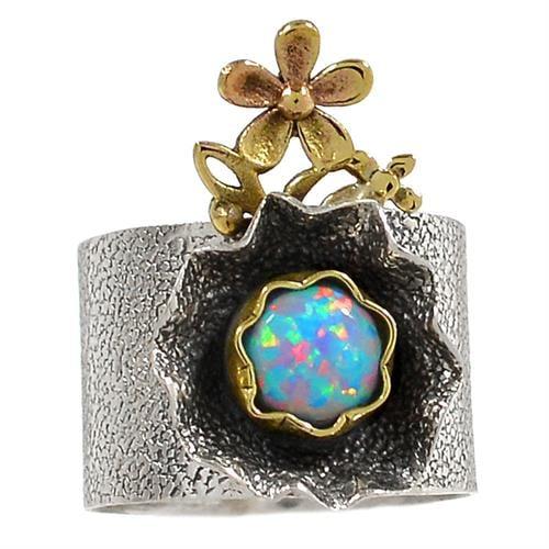 טבעת מכסף מעוצבת, משובצת אבן אופאל  RG5721 | תכשיטי כסף 925 | טבעות כסף